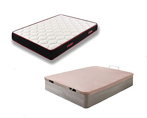 HOGAR24 ES Conjunto Canapé Abatible de Madera Color Roble Cambrian + Colchón Viscoelástico Memory Fresh 3D, 105x190cm