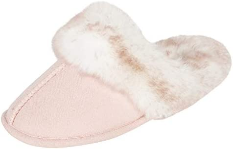 Jessica Simpson Girls Comfy Cute Faux Fur Slip on Shoes Memory Foam House Slipper Pink product image