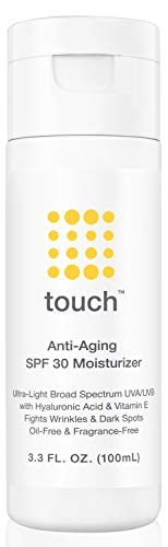 Anti-Aging SPF 30 Sunscreen Moisturizer Face Cream with Vitamin C, E, & Hyaluronic Acid - Broad Spectrum Stops Dark Spots & Hyperpigmentation – Face, Neck, or Body - Fragrance and Oil Free - 3.3 Oz