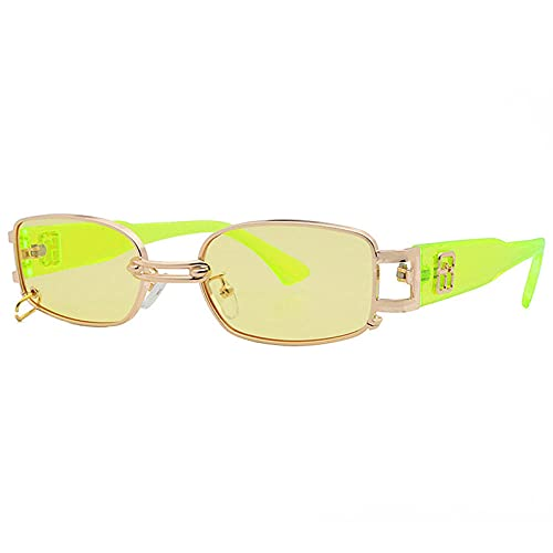 Gafas De Sol Hombre Mujeres Ciclismo Gafas De Sol Rectangulares De Moda Populares para Mujer, Gafas De Sol Verdes Fluorescentes Transparentes Vintage para Hombre, Tonos-Verde_Yellow