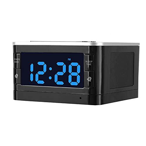 Altavoz Bluetooth con reloj despertador, Altavoz inalámbrico digital con pantalla grande LCD, Sonido envolvente, Función de calendario, Altavoz estéreo para viajes en casa, Viajes al aire libre(eu)