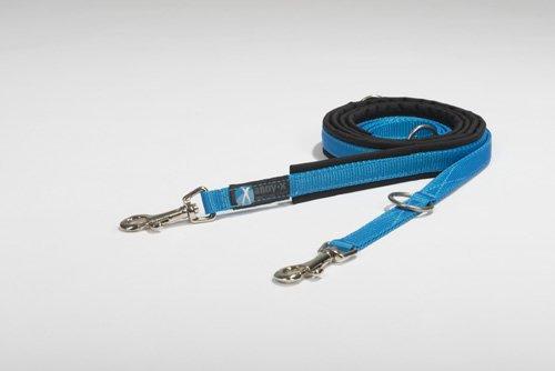 anny-x gepolsterte Führleine 1,5 cm schwarz blau - Kleiner Karabiner