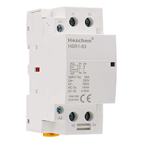 Heschen Contactor de CA doméstico HSR1-63 Ie 63A 2 polos Dos normalmente cerrados 24V Voltaje de bobina 35 mm Montaje en carril DIN