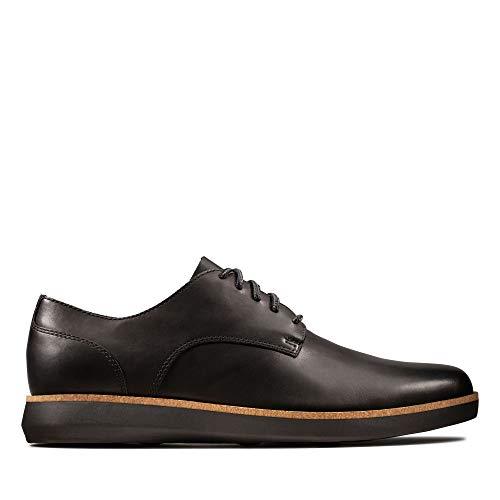 Clarks Herren Fairford Run Sneaker, Schwarz (Black Leather Black Leather), 42 EU