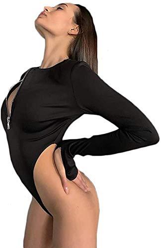 Carolilly Body Slim a Manica Lunga da Donna, Tuta Autunnale Scollo a V con Cerniera Tuta Sexy Donna Pagliaccetto Elastico Fitness Tinta Unita