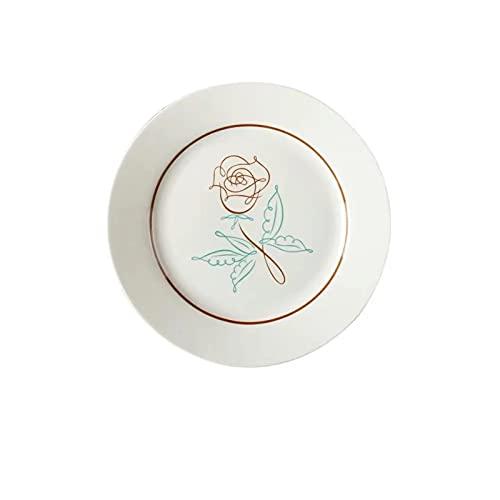 OGTFRWS Línea simple Placa de cerámica Pintado a mano Postre de plato Desayuno Placa plana Placa para el hogar Vajilla Placa de fruta (Color : White)
