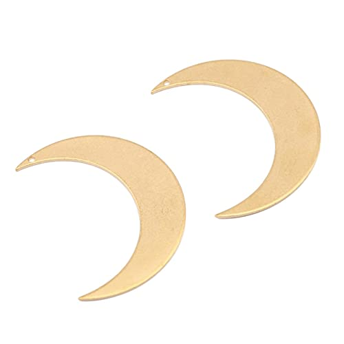 SALAN Colgante De Luna De Latón Crudo De 5 Uds, Colgante De Media Luna, Colgantes De Amistad De Media Forma Redonda para Mujer para DIY, Cadena, Collar, Fabricación De Joyas