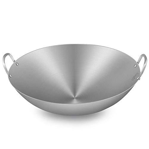 Koken Potten Pans Wok - Ongecoate Roerbakpan, Professionele grote Wok/Saute Pan,met Helper Handle, Multipurpose Wok,34-80cm Koekenpan 50CM ZILVER