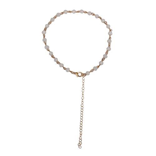 Hengxing Faux Opal Perlen Kette Halskette einstellbar minimalistischen Kristall Choker, Protein