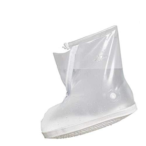 SevenD wasserdichte Schuh-Abdeckung, Wiederverwendbare Wasserdicht Radfahren Wandern Regen Schuh deckt Leichte Anti-Slip Overshoes (Weiß, XL)