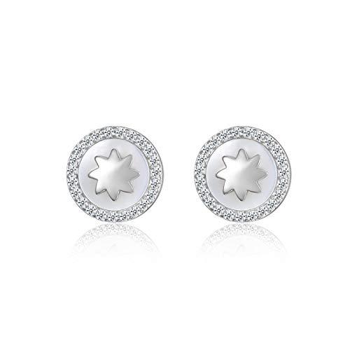 Pendientes redondos de circonita cúbica concha blanca pequeños pendientes de viento deslumbrantes 925 pendientes de plata esterlina joyería para mujer