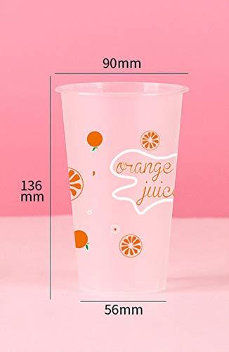 POMU 50 stks wegwerp melk thee kopje mat transparante kop 500ml sap drinken verpakking bekers dikke plastic beker met deksel