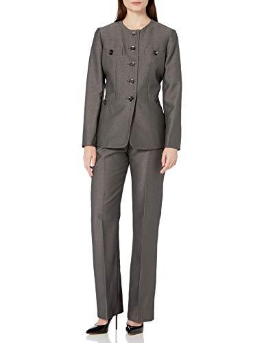 Le Suit Women's 5 Button Jewel Neck Crepe Pant Suit, Pebble, 18