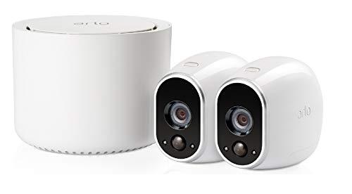 Arlo VMS3230 Sistema di Videosorveglianza Wi-Fi con 2 Telecamere di Sicurezza senza Fili a Batteria, HD, Visione Notturna, Interno/Esterno, App Android e iOS, Funziona con Alexa e Google Wi-Fi