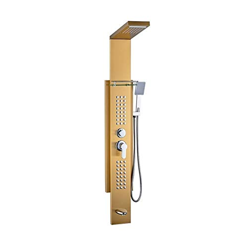 cjcaijun Ducha Agradable Conjunto de Ducha for baño Columna de Ducha Panel de Ducha de Masaje de Acero Inoxidable Dorado (Bath & Shower Faucet Type : Shower Panels)