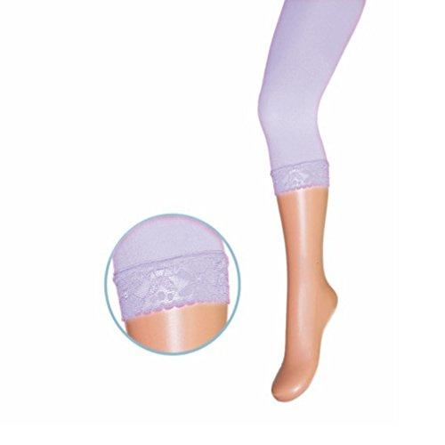 Mädchen Leggings Leggins Feinstrumpfhose 3/4 Flieder lila 40 den mit Spitze RA-11 Microfaser Gr. 116/122