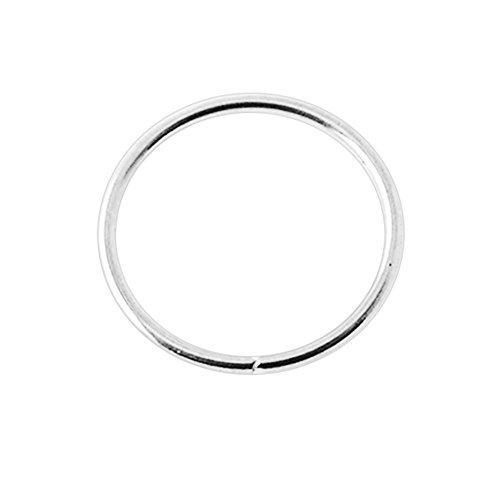 14K White Gold 22 Gauge - 8MM Durchmesser nahtlose kontinuierliche offene Hoop Nasenring Nase Piercing