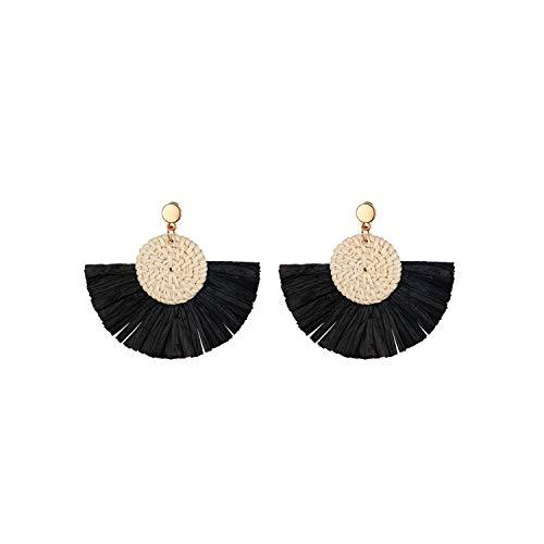 Aroncent Colgantes de Oreja de Estilo Bohemio Exagerado Pendientes Tejido de Flecos Elegante para Mujer Aretes Semicírculo con Aguja de Acero Inoxidable Diseño Moda Retro Color Negro