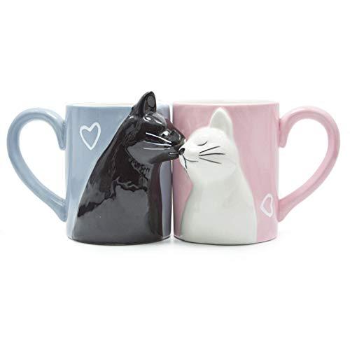 MengCat Gato Tazas de café par, Conjunto de Tazas de té de cerámica únicas, Taza de Boda para la Novia y el Novio,Beso Regalo a Juego para Aniversario, Compromiso, día de San Valentín, cumpleaños
