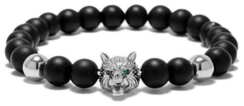 KEKEYANG Stone Bracelet Women,7 Chakra Natural Frosted Stone Beads Bangle Silver Wolf Animal Yoga Jewelry Elastic Energy Bracelets Unlimited Charm Diffuser Women Stone bracelet