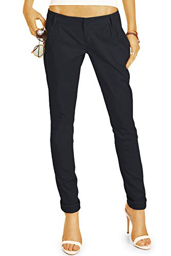 bestyledberlin BE Styled Damen Chinos - Stoffhosen, röhrige hüftige Passform, mit Bundfalten h20a 42/XL schwarz