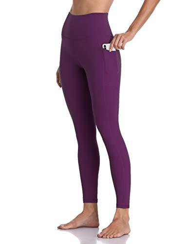 Colorfulkoala Women's High Waisted Yoga Pants 7/8 Length Leggings with Pockets (M, Deep Violet)