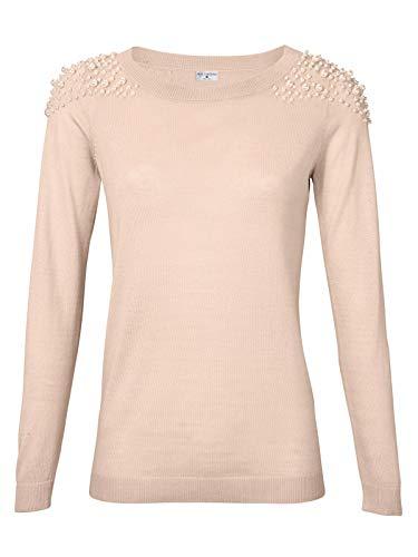 Heine Sweater U-Boot-Pulli kuscheliger Damen Feinstrick-Pulli mit Schmuckperlen Freizeit-Pulli Strick-Sweater Rosa, Größe:44