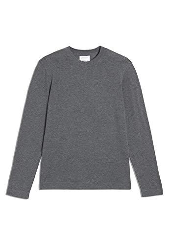 ARMEDANGELS LAADO - Herren Pullover aus Bio-Baumwolle M Mid Grey Melange Strick Pullover Rundhals Regular fit