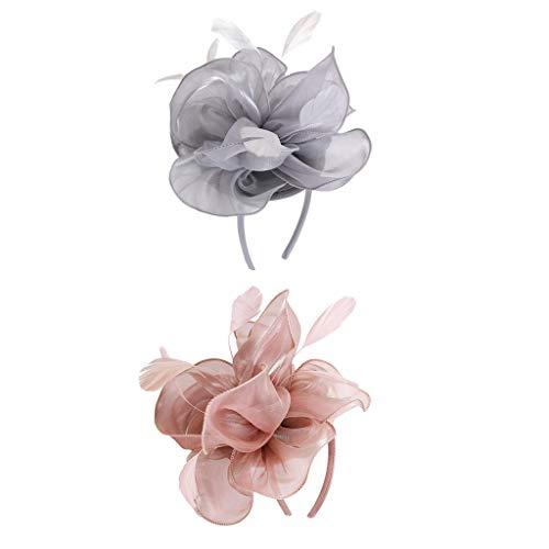 P Prettyia 2x Pince à Cheveux Élégant Fascinator Mesh Voile Bibi chapeaux élégant - Noir/Beige/Rouge/Bleu