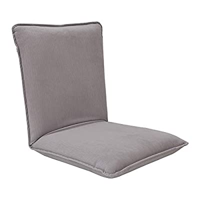 """Sundale Outdoor Indoor Adjustable Soft-Brushed Polyester Cord Five-Position Multiangle Floor Chair, 17.5""""(L) x 17""""(W) x 17.5""""(H), Light Gray"""
