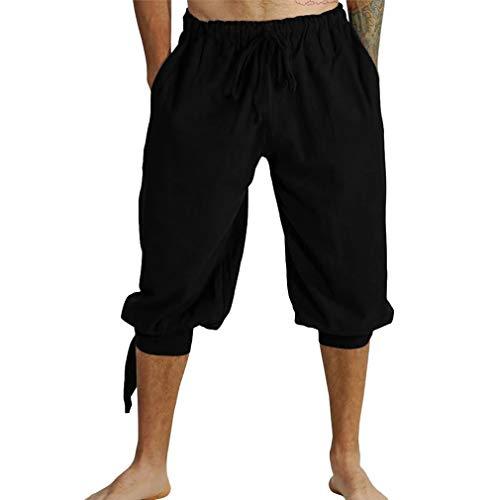 qiansu Hombre Corto Medievales Pantalón Renacimiento Étnico Pantalones Vikingos Gótico Steampunk 3/4 Capri Pantalon Cintura Elástica Deportivos Pants con Bolsillos