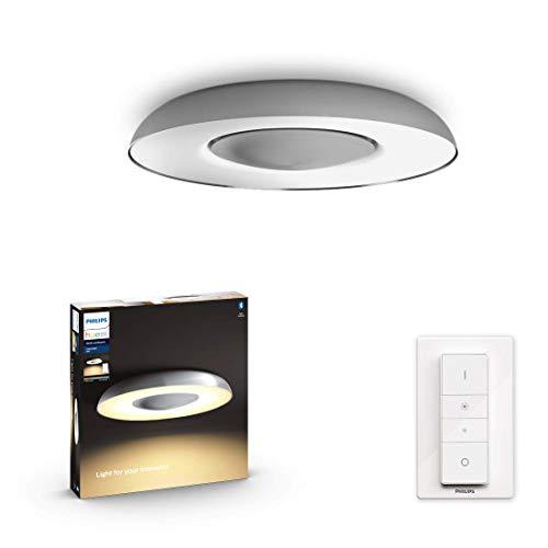 Philips Hue White Amb. LED-Deckenleuchte Still inkl. Dimmschalter, aluminium, dimmbar, alle Weißschattierungen, steuerbar via App, kompatibel mit Amazon Alexa (Echo, Echo Dot), 915005913901