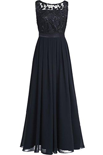 iEFiEL Damen Kleid Festliche Kleider Brautjungfer Hochzeit Cocktailkleid Chiffon Faltenrock Elegant Langes Abendkleid Partykleid Schwarz 34