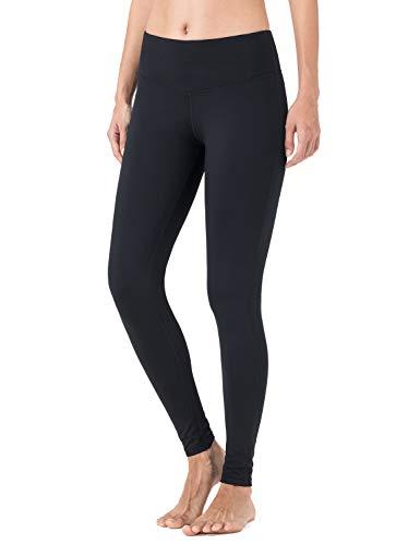 NAVISKIN Damen Slim-Laufhose Thermoleggings Innenfleece wärmeisolierende Sport-Leggings Jogging-Yogahose mit Schlüsseltasche schwarz Größe L