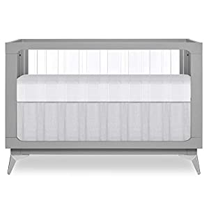 Evolur Acrylic Millennium 4-in-1 Convertible Crib I Modern Full Size Crib I Baby Crib I Easily Coverts to Toddler Bed & Dayday I  Adjustable Mattress Support Base I Acrylic Slats I in Pebble Grey