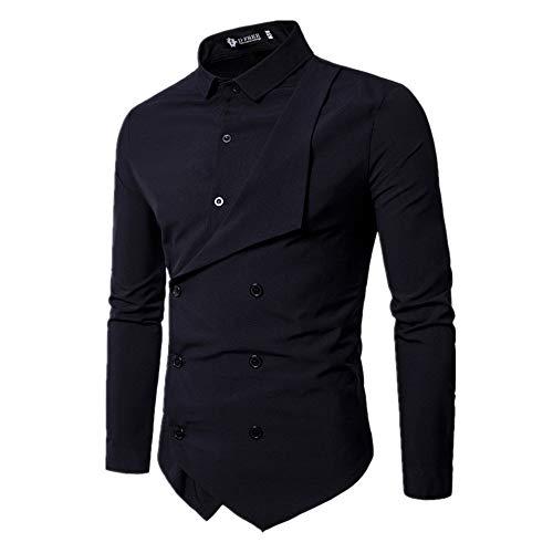 N\P Camisas de manga larga falsas de doble botonadura para hombre