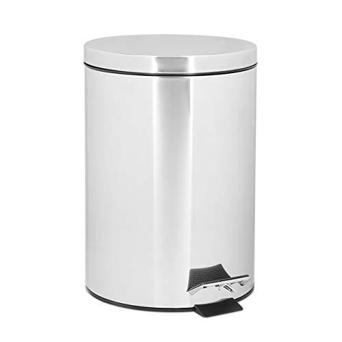 Relaxdays Poubelle ronde à pédale 5 litres vide-ordures Seau plastique amovible poignée transport H x D: 27 x 20,5 cm acier inoxydable optique métal cuisine salle de bain, gris argenté