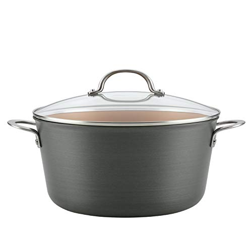Ayesha Curry Home Collection Hard Anodized Nonstick Stock Pot/Stockpot with Lid, 10 Quart, Charcoal Gray