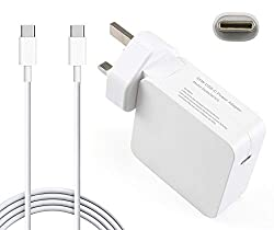 65W USB-C Power Adapter Smart charger: Technology which automatically detects and delivers OUTPUT (20.3V-3.05A, 14.5V-2A, 9V-3A, 5.2V-2.4A).With a 70inches USB C charging cable supports power delivery (PD) fast charge model with maximum power up to 6...