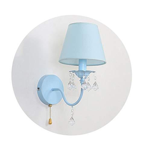 Lámpara niños, E14 tracción de la Cadena Aplique de la luz de Lectura for la Sala de niños for los dormitorios niñas Metal y paño de Pantalla (Color : Blue)