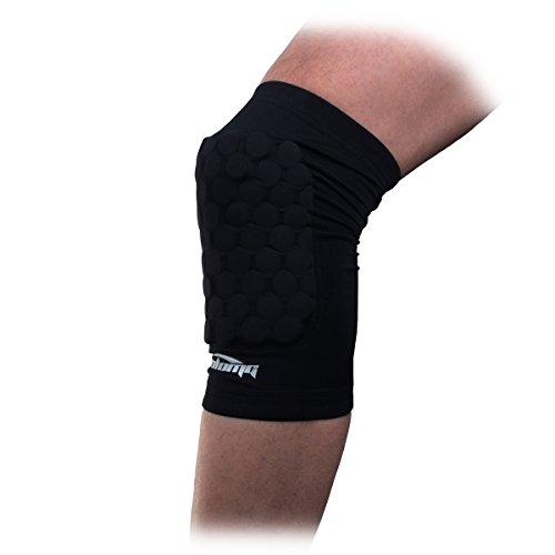 COOLOMG Pad Crashproof Antislip Basketball Leg Knee Short Sleeve Protector Gear (1 Piece), Black, Medium