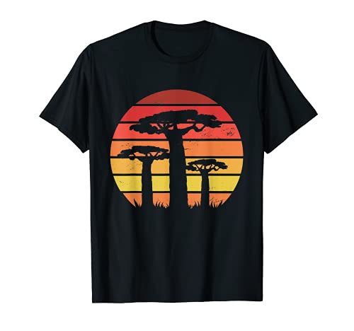 Árbol de Baobab africano Vintage Sunset Retro África Roots Camiseta