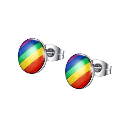 FENICAL Un par de pendientes redondos de rayas de Stud de oreja de arco iris, joyería lesbiana gay