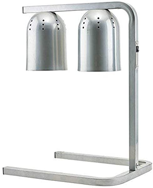 Winco EHL 2C 120V Electric Free Standing Comercial Heat Lamp With Two 250 W Bulbs Food Warmer Aluminum Warming Lamp Silver