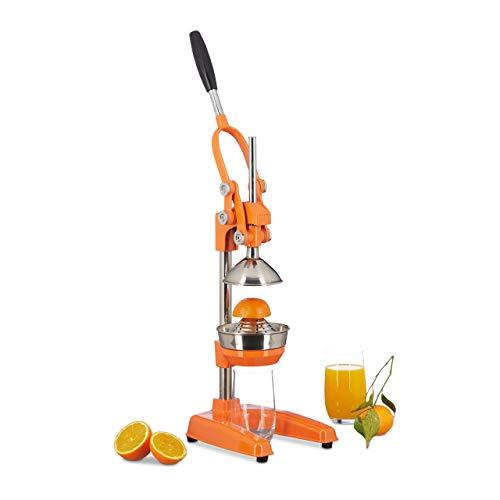 Relaxdays Zitronenpresse Premium Z8, manuelle Orangenpresse, Entsafter ohne Strom, professionelle Zitruspresse, orange