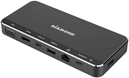 Diamond USB C Triple Display Mini MST Dock Mini DP HDMI VGA USB 3 0x2 Gigabit Ethernet PD Pass product image