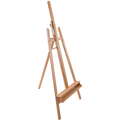 U.S. Art Supply Sunset 64″ to 89″ High Lyre Style Studio A-Frame Easel with Artist Storage Tray – Sturdy Beechwood, Inclinable Mast, Adjustable Height To 48″ Canvas, Wood Painting Display Holder Stand