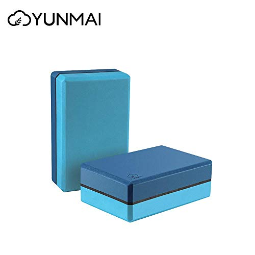 YUNMAI Yoga-Block-Set aus 2 Schaumstoff-Blocken, 22,9 x 15,2 x 7,6 cm, Yogasteine, Eva, geruchsneutral, hohe Dichte, für Anfänger, geeignet für Yoga, Pilates, Training, blau