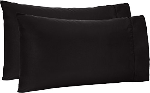 AmazonBasics – Fundas de almohada de microfibra, Negro, Estándar, 1