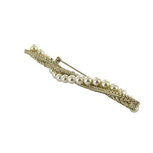 DC DELPHINE-CHARLOTTE PARMENTIER Bamboo Ref 20, Broche en Perla de Cristal Swarovski Metal–Color–Oro